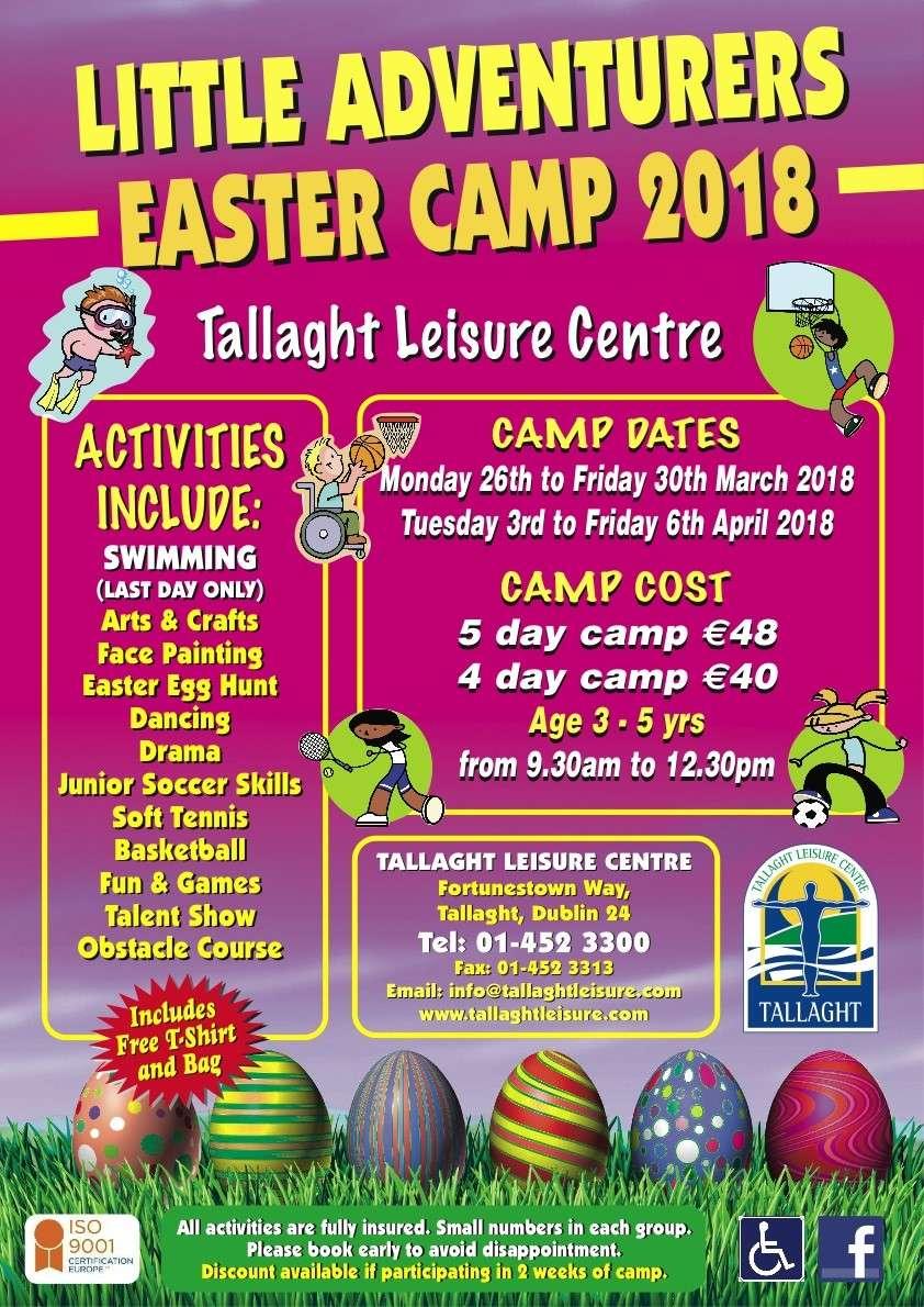 Tallaght Leisure Centre Little adventurer Easter Camp 2018